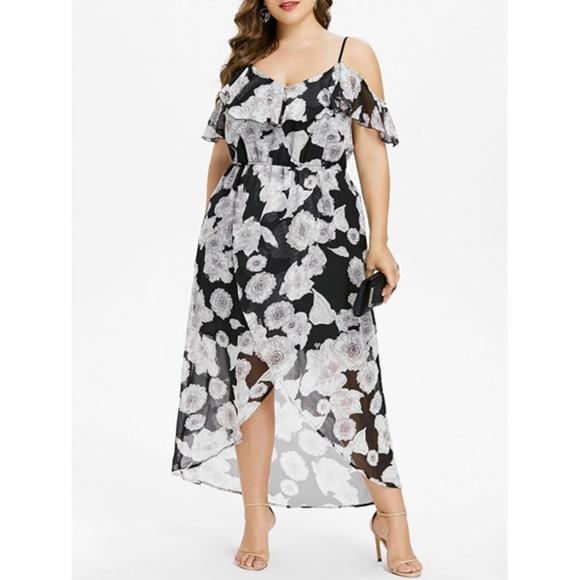 Plus Size Floral Cold Shoulder Maxi Dress Boutique
